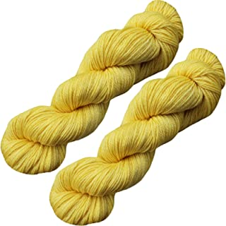 Living Dreams Slinky Malinky Sock Yarn USA Hand Dyed Colorfast Superwash Merino Tencel Fingering, Yellow 400 Yards
