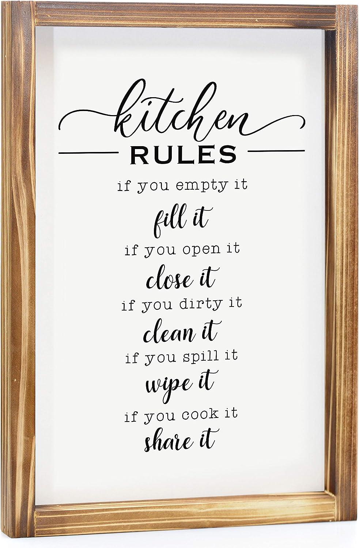 MAINEVENT Discount mail order Kitchen Rules Sign Decor Super sale Farmhouse -