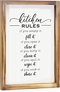 Kitchen Rules Sign - Farmhouse Kitchen Decor, Kitchen Wall Decor, Rustic Home Decor, Country Kitchen Decor with Solid Wood Frame 11 x 16 Inches