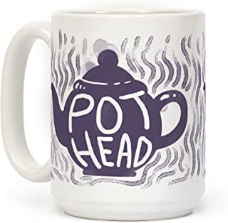 LookHUMAN Pot Head (Tea) White 15 Ounce Ceramic Coffee Mug