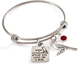 Memorial Jewelry, When Cardinals Appear Your Loved One is Near Bangle Bracelet