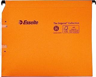 Esselte Dossier Suspendu Horizontal, Multi-Dossiers, Fond 15 mm, A4, Lot de 25, Onglets inclus, Orange, Orgarex, 21628