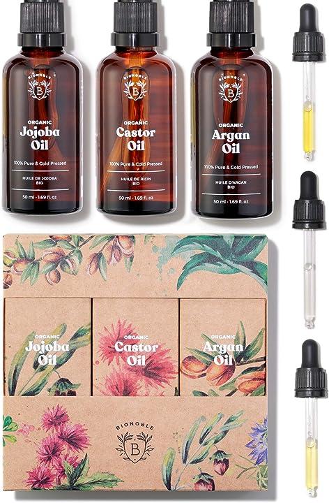 Olio di ricino, olio di argan & olio di jojoba bio | 100% puri, naturali e pressati a freddo France