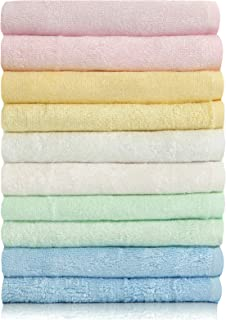 Bamboo Fiber Fade-Resistant Super Soft and High Absorbent Multi-Purpose Fingertip Towels, 10 Washcloths Face Cloths (10inch x 10 inch).Weight(Grams) 320.10Pieces