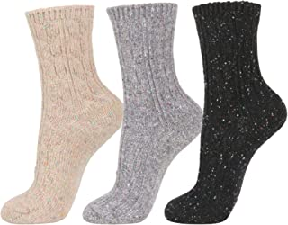Winter Wool Color Cable Knit Ankle Socks 3 Pair