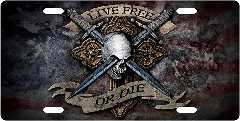 Live Free or DIE Skull License Plate Novelty Tag from Redeye Laserworks