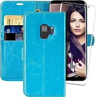 MONASAY Hoesje Samsung Galaxy S9, Telefoonhoes voor Samsung Galaxy S9, Lederen Flip Phone Cover Case met Kaarthouder, Magn...