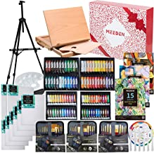 MEEDEN 148-Piece Deluxe Artist Painting Set with Aluminum and Solid Beech Wood Easel, Paint, Stretched Canvas and Accessor...