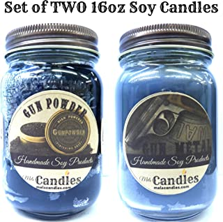 Combo Gun Metal & Gun Powder Set of Two 16oz Country Jar All Natural Soy Candles