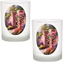 Thomas Kinkade The Rose Garden DOF Double Old Fashioned Glass 14-Ounce (Set of 2)