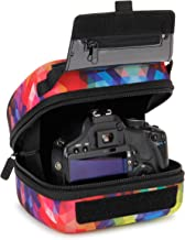 USA GEAR Hard Shell DSLR Camera Case (Geometric) with Molded EVA Protection, Quick Access Opening, Padded Interior and Rubber Coated Handle-Compatible with Nikon, Canon, Pentax, Olympus and More