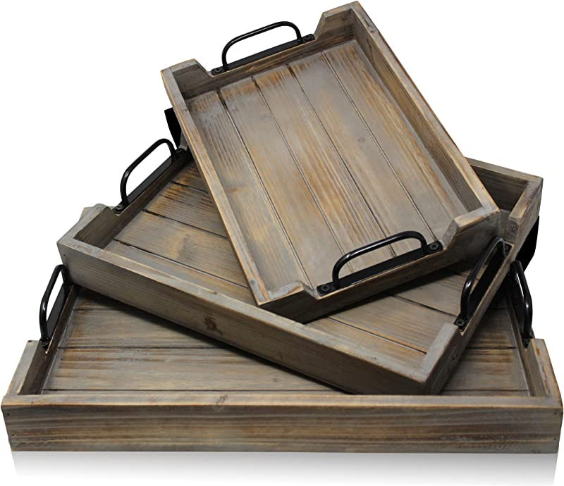 3 Pie Ce Decorative Nested Vintage Wood Serving Tray Set For Coffee Table Or Ottoman Rustic Wooden Breakfast Trays For Kitchen Dining Room Or Living Room Farmhouse Platter W Handles Barnwood
