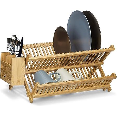 Relaxdays Égouttoir à vaisselle et couverts pliable avec panier à couverts CROSS bois de bambou H x l x P: 24 x 46 x 28 cm, nature