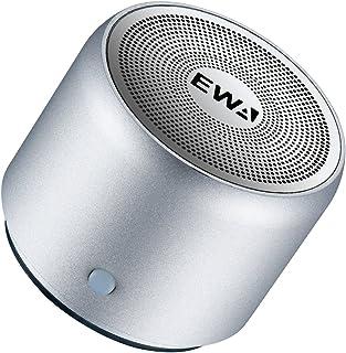 EWA A106 ワイヤレス Bluetoothコンパクトスピーカー【極小型/高音質/パッシブ振動膜搭載/迫力のある低音/モバイル、車載、アウトドア用/旅行用EVAケース付き】(シルバー)
