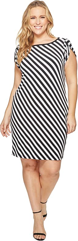 Plus Size Tulip Sleeve Striped Dress