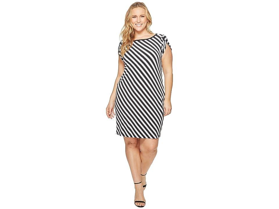MICHAEL Michael Kors Plus Size Tulip Sleeve Striped Dress (Black/White) Women