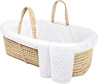 Tadpoles Minky Dot Moses Basket & Bedding Set, White