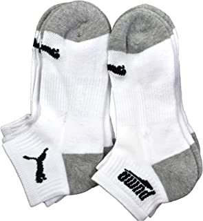 Puma - Boys' P113602-107 Quarter Crew Cushioned 6-Pack Socks, Grey/White 9-11