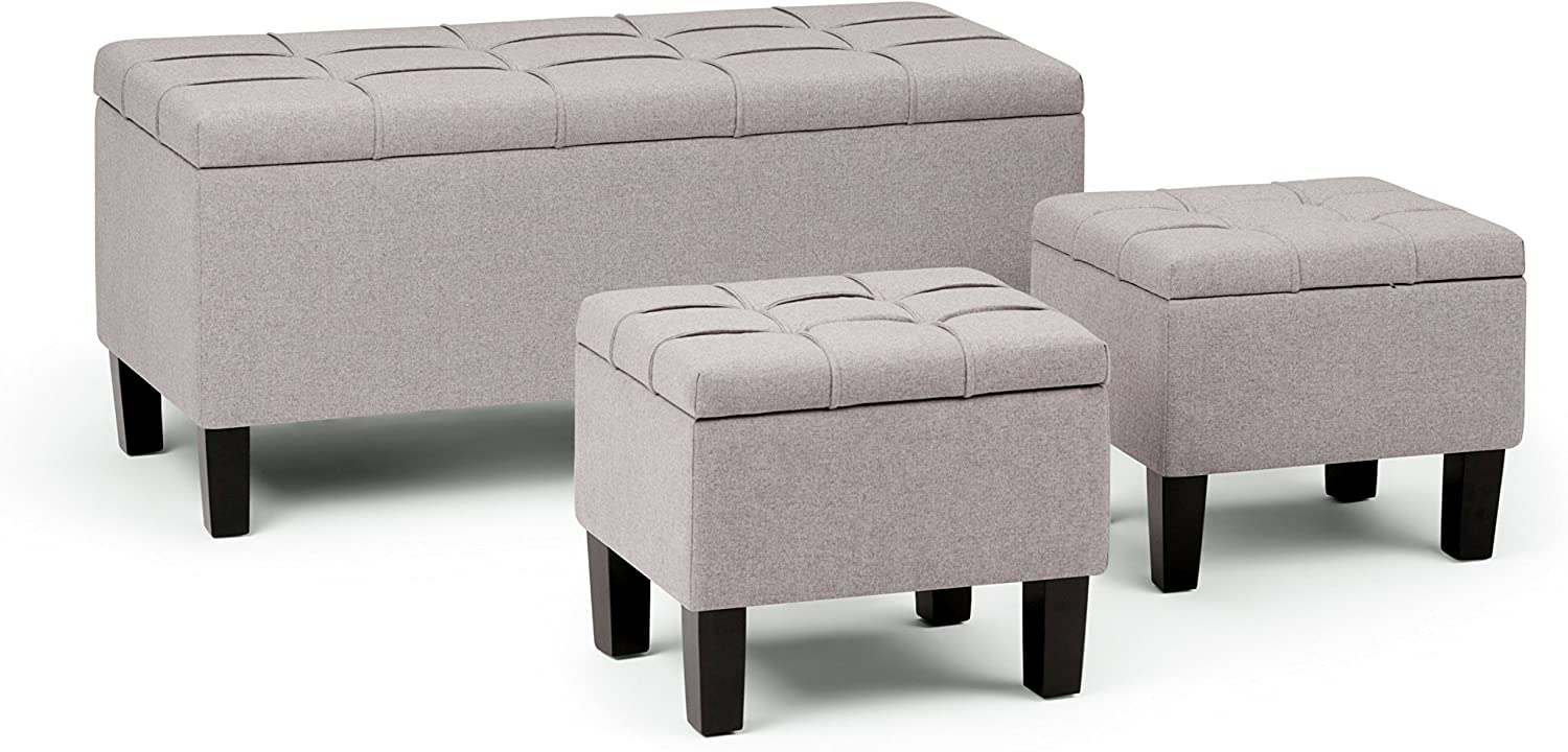 SIMPLIHOME Dover 44 inch Wide Rectangle 3 Pc Lift Top Storage Ottoman in Upholstered Cloud Grey Linen Look Fabric, Footrest Stool, Coffee Table for the Living Room, Contemporary