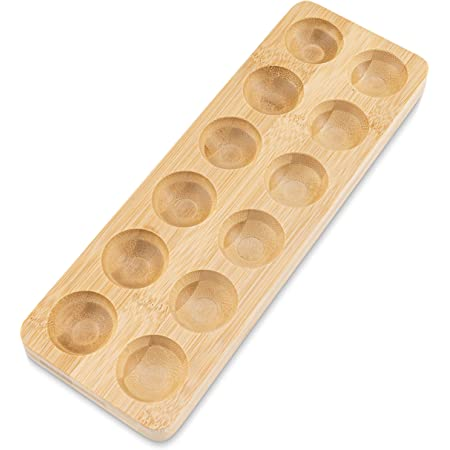 Wooden Bamboo Egg Holder for Countertop or Refrigerator, Great for Storage and Display, Holds 12 Eggs