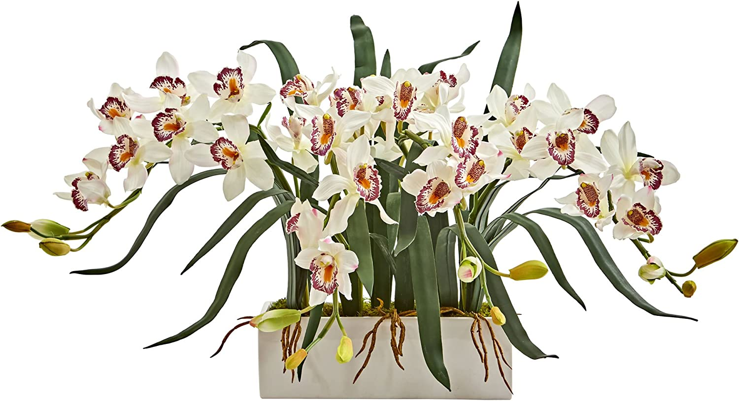 Nearly Natural 1563-WH Cymbidium Arrangement in White Vase Artificial Plant,