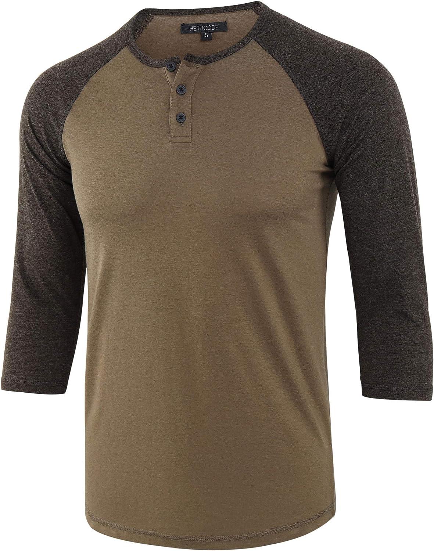HETHCODE Men's Casual Raglan Fit Soft Baseball 3 Max 41% OFF Sleeve 4 Inexpensive Henley