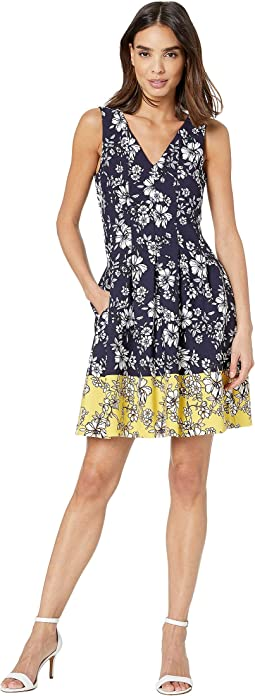Printed Scuba Crepe Double V Fit and Flare Dress