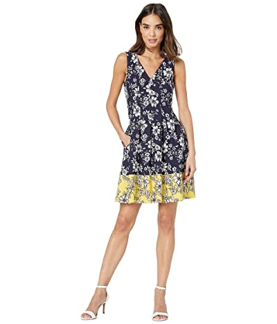 Vince Camuto Printed Scuba Crepe Double V Fit and Flare Dress (Navy/Yellow) Women