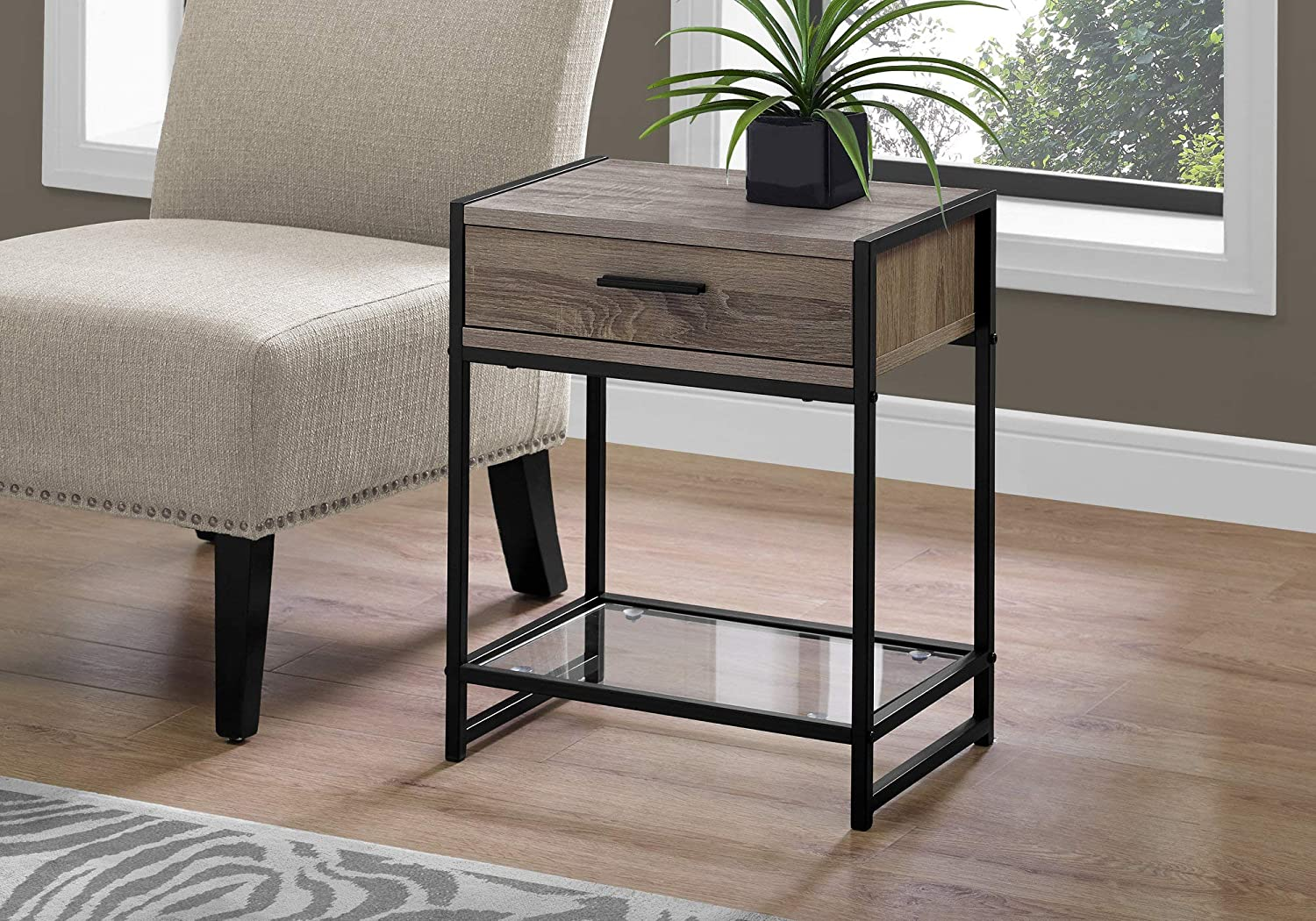 Monarch Specialties Accent Table - 22  H Dark Taupe Black Tempered Glass