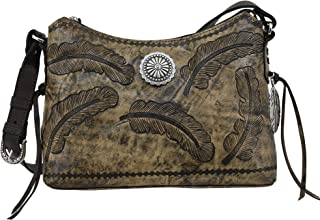 American West Sacred Bird Zip Top Shoulder Bag Distressed Charcoal Brown One Size