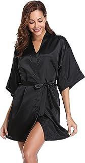 Vlazom Women's Kimono Robes Short Satin Pure Color Bridal Party Robe with Oblique V-Neck