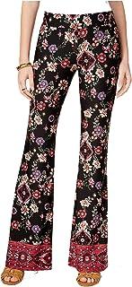 BCX Juniors' Floral-Print Knit Flared Pants