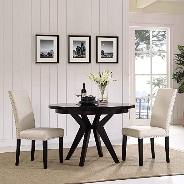 Modway Parcel Modern Upholstered Fabric Parsons Two Kitchen And Dining Room Chairs With Polished Nailhead Trim In Beige