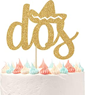 Spanish Dos Cake Topper Fiesta Party Decor for Mexican Baby's 2nd Birthday Decorations Happy 2nd Birthday Decor Gold Glitter.