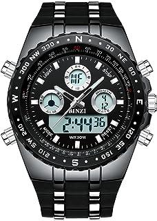 BINZI Big Face Sports Watch for Men, Waterproof Military Wrist Digital Watches in Silicone Band