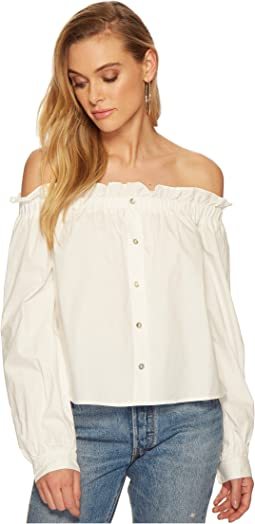 J.O.A. - Off the Shoulder Button Down Top