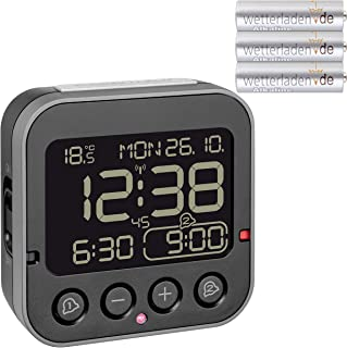 TFA Dostmann 60.2552.01 Bingo 2.0 Digital trådlös väckarklocka med temperaturvisning och negativ display (svart med batter...