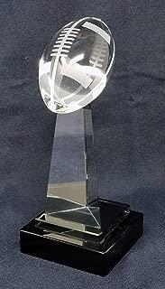 Decade Awards Fantasy Football Crystal Trophy - Crystal Gridiron Tower Award - 9 Inch Tall - Customize Now