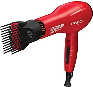 Kiss Products Red Detangler Dryer Plus 3 Attachments, 1.75 Pound
