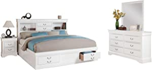 acme White Furniture Louis Philippe III 4-Piece Storage Bedroom Set Queen