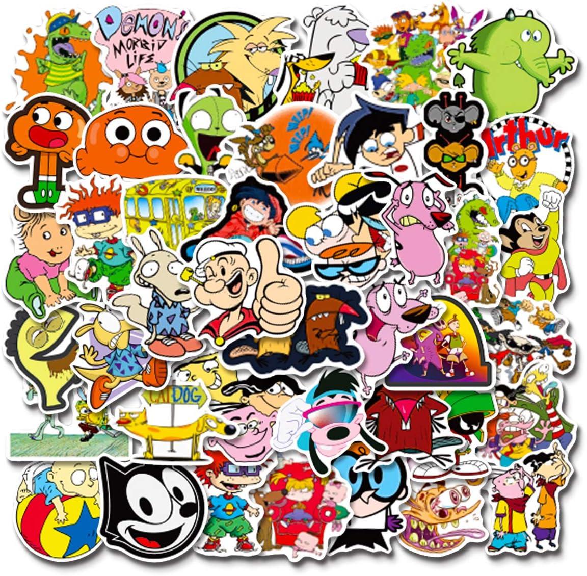90s Cartoon Stickers  50 PCS   Vinyl Waterproof Stickers for Laptop,Bumper,Skateboard,Water Bottles,Computer,Phone, Anime Stickers for Adult Teens Kids(90s Cartoon) (90s Cartoon Sticker)