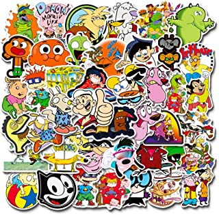 90s Cartoon Stickers| 50 PCS | Vinyl Waterproof Stickers for Laptop,Bumper,Skateboard,Water Bottles,Computer,Phone, Anime ...