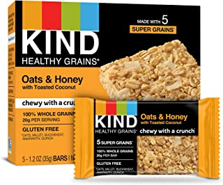 Kind Healthy Grains Bars, Oats & Honey with Toasted Coconut, 1.2 oz 5-Count