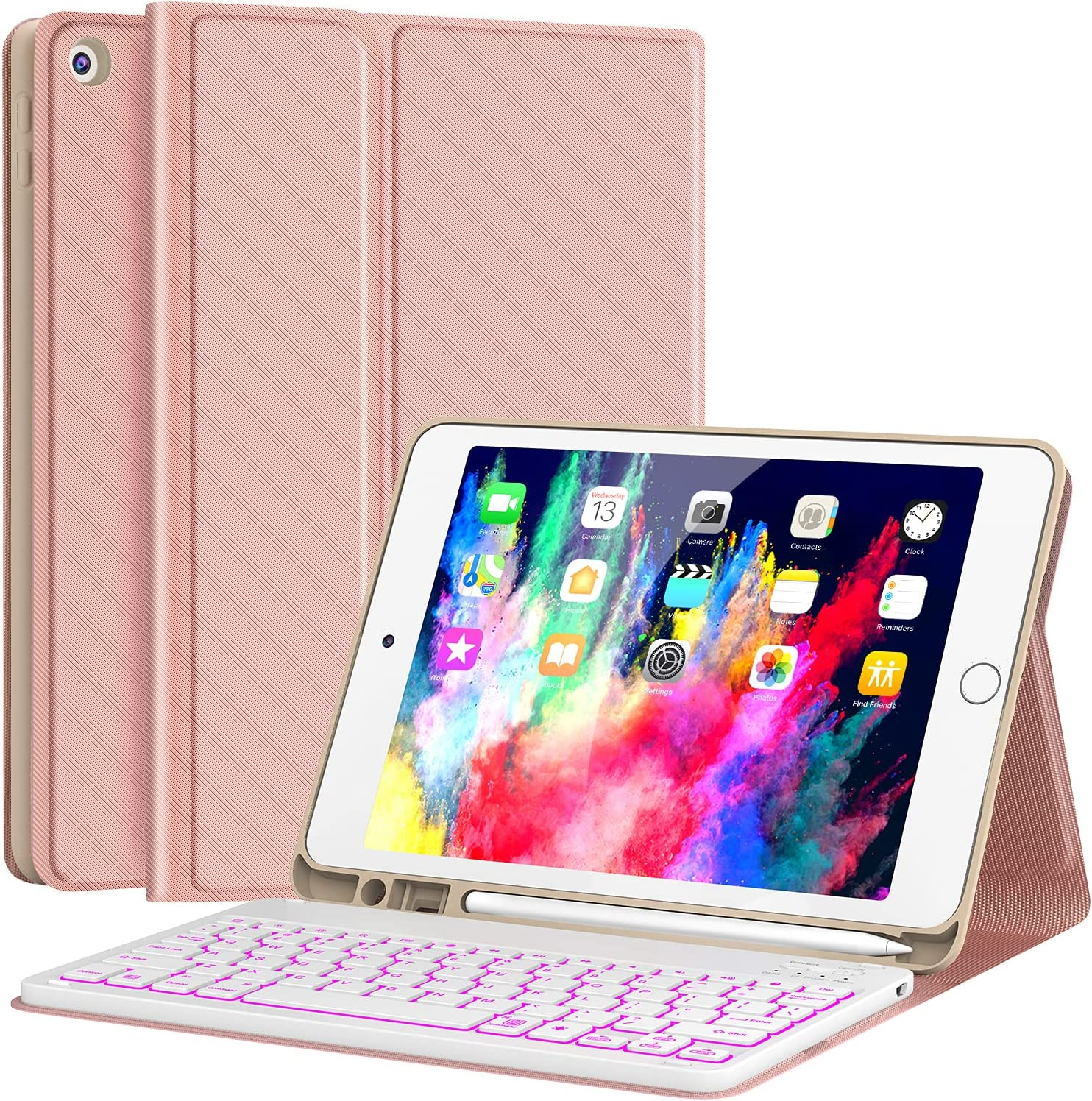 """Keyboard Case for iPad 9th Generation (2021)/8th Gen/7th Gen 10.2 Inch, CHESONA Detachable Wireless with Pencil Holder Stand Folio Keyboard Cover for New iPad 9th Gen/8th Gen/7th Gen 10.2"""", Rose Gold"""