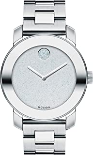 Movado Women's BOLD Iconic Metal Stainless Steel Watch with Flat Dot Glitter Dial, Silver (3600334)