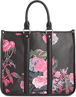 Steve Madden Womens Badrian Faux Leather Floral Tote Handbag