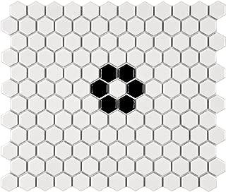 SomerTile FXLM1HGF Retro Hex Flower Porcelain Floor and Wall Tile, 10.25