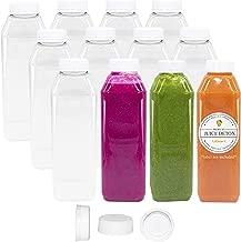 10 oz Plastic Juice Bottles Clear Empty 12 Pk Reusable Disposable Tamper Proof Lids Milk Containers