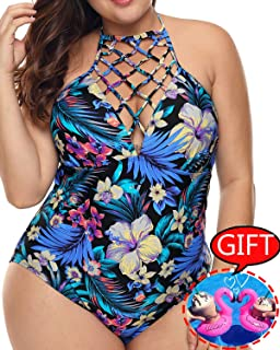 1ca1bf4fe3bed Womens Plus Size Swimsuits One Piece Tummy Control Monokini Halter Floral  Printed Vintage Bathing Suit