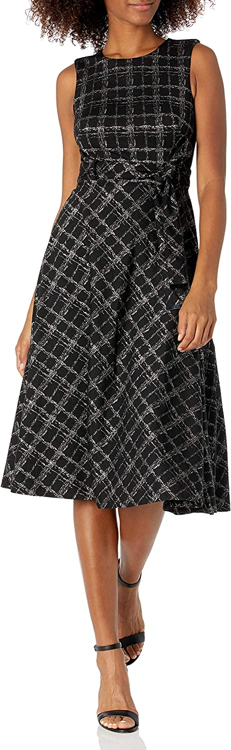 Calvin Klein Women's Sleeveless Midi A-line New products world's highest Max 52% OFF quality popular Belted Dress